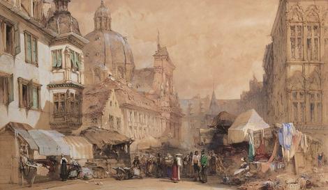 Kürschnerhof in Würzburg, William Callow, 1848